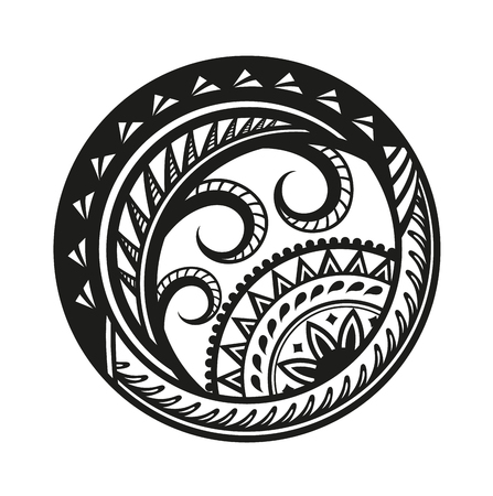 Sticker in ethnic style. Polynesian black round pattern. Ethnic style vector pin, patch.