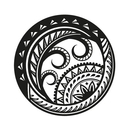 Sticker in etnische stijl. Polynesisch zwart rond patroon. Etnische stijl vector pin, patch. Stock Illustratie