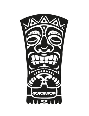 Sticker in ethnic style. Black and white mask of  Tiki totem Polynesian idol. Ethnic style vector pin, patch. Illustration