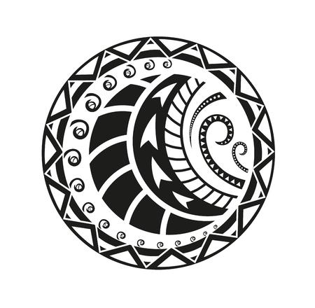 エスニック スタイルのステッカー。ポリネシア人黒ラウンド パターン。エスニック風ベクトル ピン、パッチ。