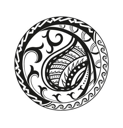 Adesivo in stile etnico. Modello rotondo nero polinesiano. Pin di stile etnico vettoriale, patch.