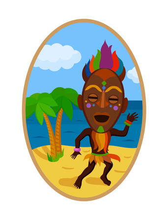 Sticker in ethnic style. Man in a african colorful mask dancing on a background of landscape with palm trees and sea. Ethnic style vector pin, patch.