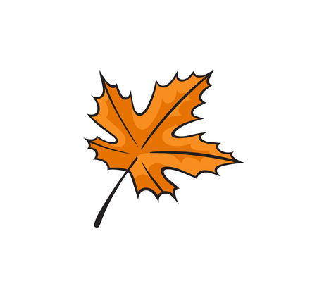 Pop art style orange autumn leaf patch badge. Vector sticker, pin, patch in cartoon 80s-90s comic style