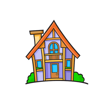 livelihoods: Pop art style house patch badge. Vector sticker, pin, patch in cartoon 80s-90s comic style Illustration