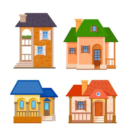 livelihoods: Flat house residential front icon set, vector illustration Illustration