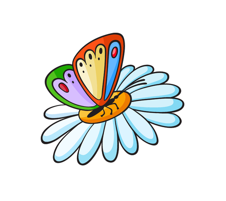 Pop art style colorful butterfly on a flower patch badge. Vector sticker, pin, patch in cartoon 80s-90s comic style