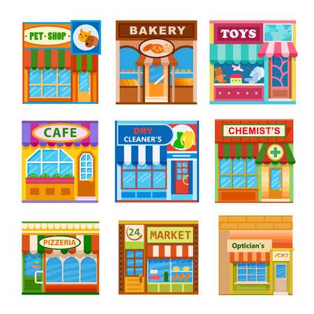 bakery products: Flat style cafe restaurant shop store little tiny fancy icon set. Pet shop, toys, bakery, dry cleaners, pizzeria, cafe, opticians, market, chemists Illustration