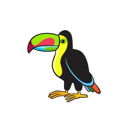 Pop art style tropical bird with colorful beak patch badge vector sticker pin