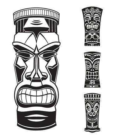 ステッカーは、エスニック スタイルに設定します。ティキ トーテム ポリネシア アイドルの黒と白のマスクです。エスニック風ベクトル ピン、パッ  イラスト・ベクター素材