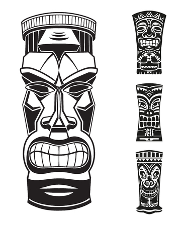 Stickers set in ethnic style. Black and white masks of  Tiki totem Polynesian idol. Ethnic style vector pin, patch