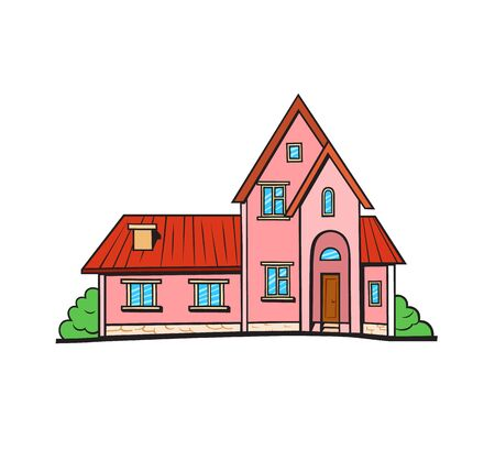 livelihoods: House illustration. Vector sticker, pin, patch in cartoon comic style. Pink color cottage with red roof