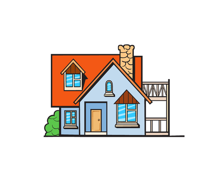 livelihoods: House illustration. Vector sticker, pin, patch in cartoon comic style. Grey color cottage with orange and red roof