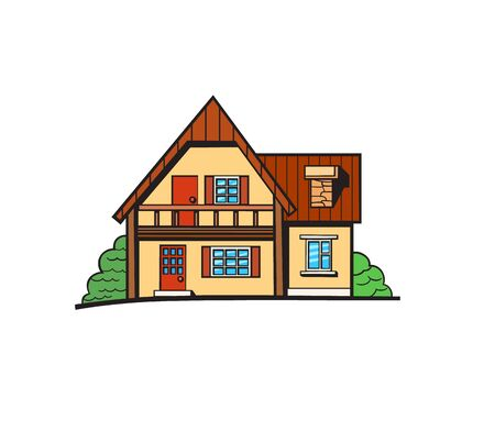 House illustration. Vector sticker, pin, patch in cartoon comic style. Yellow color cottage with orange and red roof Illustration