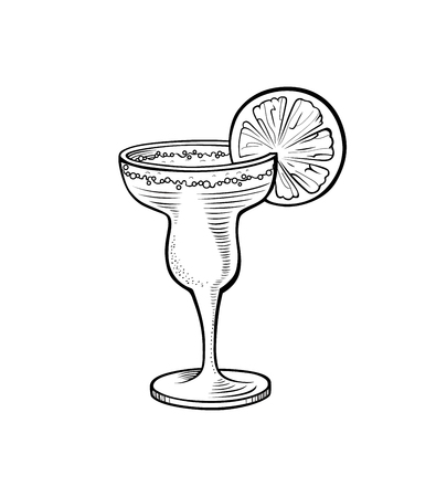 Alcoholic cocktail hand drawn vector illustration. Vintage cocktail icon with ice, with orange, beverage for bar or pub menu. Alcohol cocktail in glass isolated on white background Vektorové ilustrace