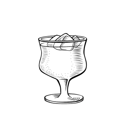 Alcoholic cocktail hand drawn vector illustration. Vintage cocktail icon with ice, beverage for bar or pub menu. Alcohol cocktail in glass isolated on white background