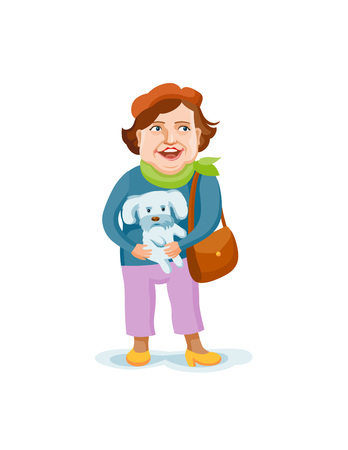 A smartly dressed old lady with a little dog in her hands. Cartoon style vector old woman