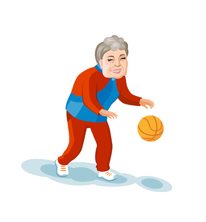 Old lady dressed in a tracksuit with a bascketball ball in her hands. Cartoon style vector old woman