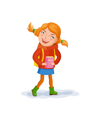 Small girl with ginger haired, in a red jacket and green rubber boots. Girl holds a book of story in her hands. Vector illustration