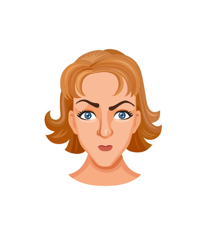 Cartoon young woman face expresses emotions. Offended state and irritation. Facial expressions with offense. The girls brow furrows Illustration
