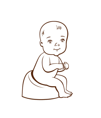 Cute little baby on sitting position hand drawn illustration.
