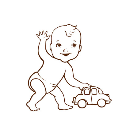 Cute little baby playing a toy car hand drawn illustration.