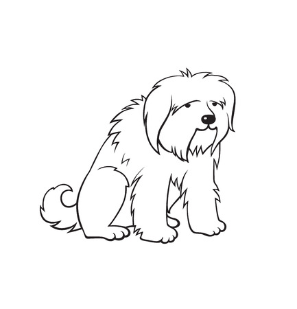 Cartoon cute big dog. Monochrome illustration for perfect card or any kind of design. Isolated on white background