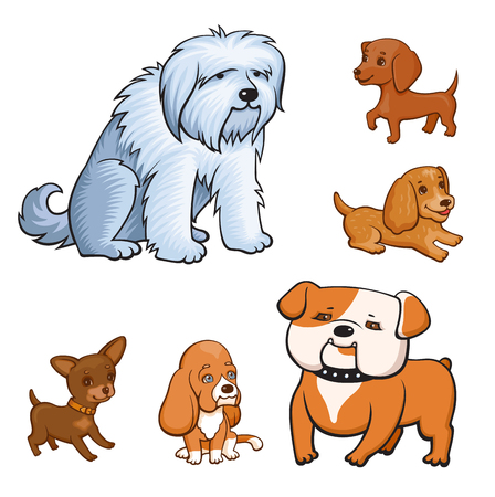 Cartoon style dogs set. Adult dogs and puppies of different breeds. Colorful illustration for perfect card or any kind of design. Isolated on white background