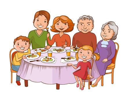Grafische Artkarikaturfamilie des Spaßes bunte am Tisch gegessen. Vater, Mutter, Großmutter, Opa und Kinder sitzen in einem Restaurant