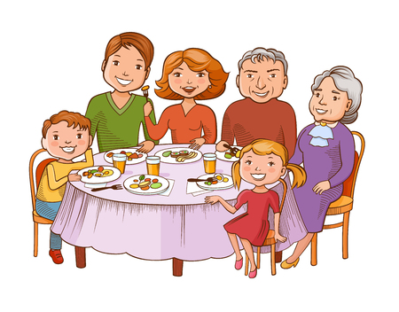 Fun colorful graphic style cartoon family dined at the table. Father, mother, grandmother, granddad and children are sitting in a restaurant