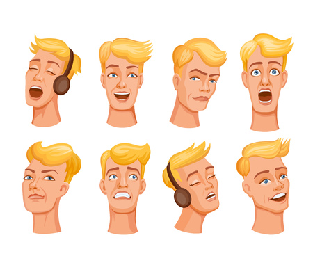Set of cartoon young men face expresses emotions. Different expressions of male faces. Facial expressions with offense, humor, confusion, irony, skeptical, horror, love and romance Illustration