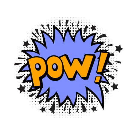 Pow. Comic book style vector sticker Illustration