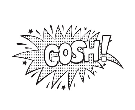 Gosh, word in speech bubble patch badge. Comic book style vector sticker, pin, patch in cartoon 80s-90s comic style 向量圖像