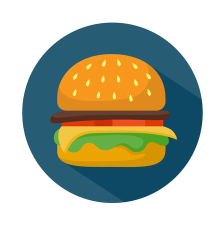 Flat style hamburger icon with shadow.  Fast food vector illustration