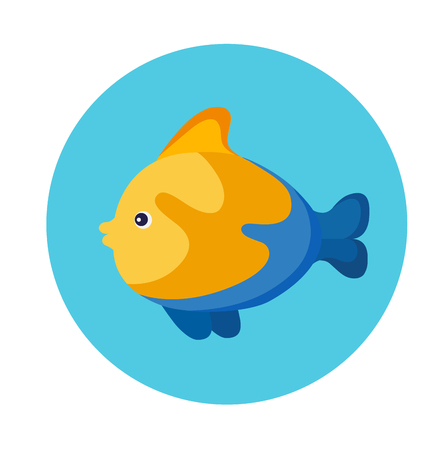 Colorful flat icon of a yellow sea fish on the blue background