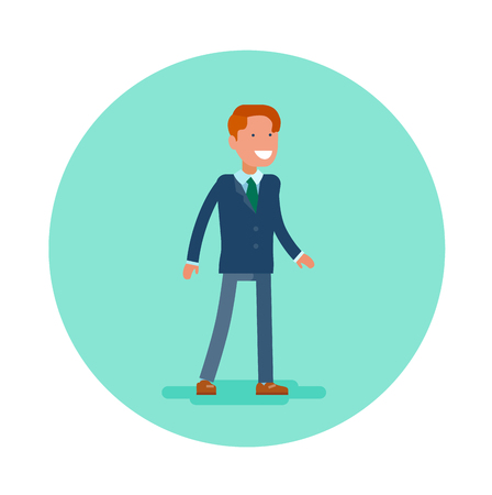 Vector flat icon of an office worker. Young man in blue suit and green tie