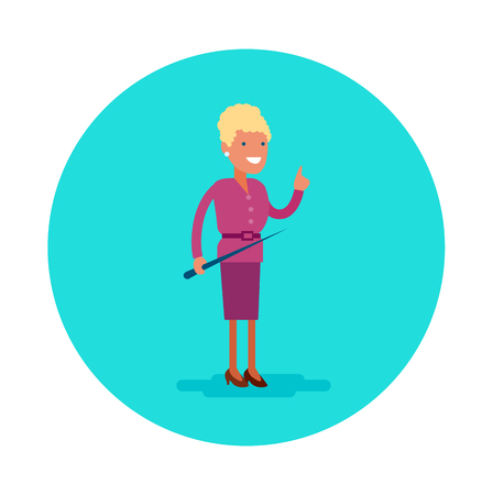 Vector flat icon of a school teacher. Young woman in a pink suit and with pointer Ilustracja