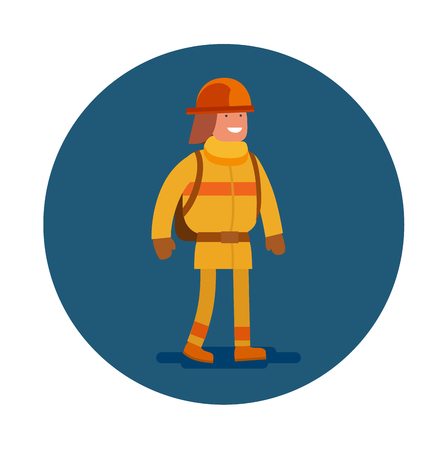 Vector flat icon of an firefighter. Young man in firefighting uniform