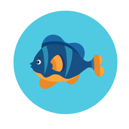 Colorful flat icon of a blue and yellow sea fish on the blue background. Sea animal character