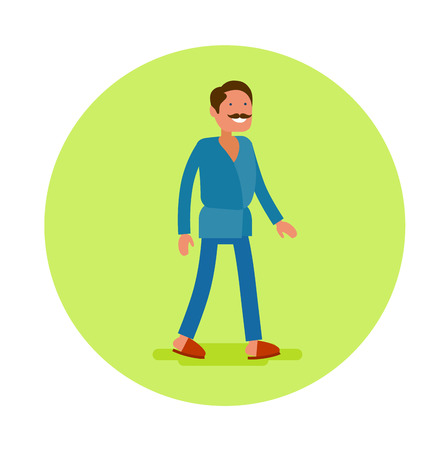 Vector flat icon of an masseur. Young man in blue uniform and with mustache