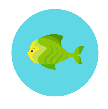 Colorful flat icon of a green sea fish on the blue background. Sea animal character
