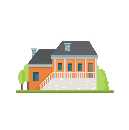 Flat colorful house front icon. Cottage with orange walls. Modern design structures vector illustration