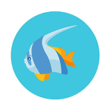 Colorful flat icon of a striped sea fish on the blue background. Sea animal character
