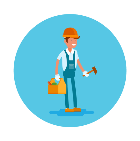 Vector flat icon of a carpenter. Young man in a helmet blue overalls and instruments Ilustracja