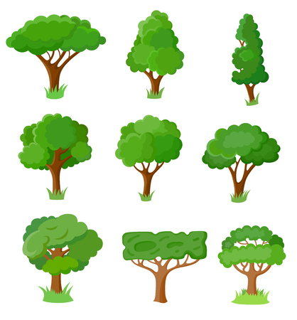 Set of flat style tree for design architectural compositions, and other types of design