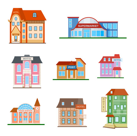 Set of a city buildings flat colorful icons on white. Different types of institutions. Hotel, train station, supermarket, post   イラスト・ベクター素材