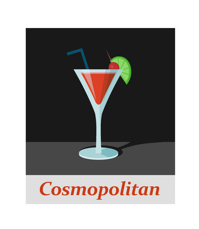 Cosmopolitan cocktail menu item or any kind of design. Party drink on the black background, vector illustration