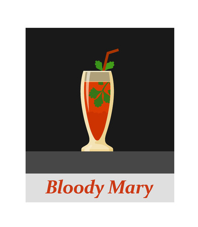 Bloody mary cocktail menu item or any kind of design. Party drink on the black background, vector illustration