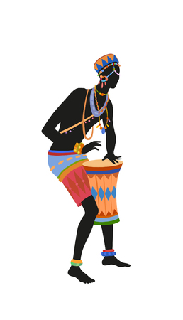 African man playing drums in bright national costume. Raster illustration Banco de Imagens