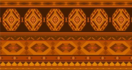 Horizontal geometric jacquard pattern in ethnic style. Raster illustration Stock Photo