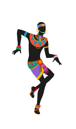 African dance ritual dance in the bright national costume. Raster illustration Stock Photo